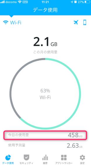 wifi通信量確認画面