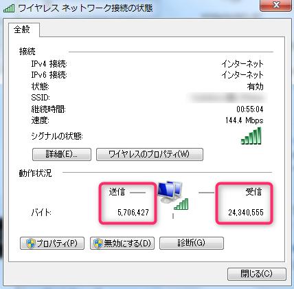 ワイヤレスネットワーク接続の状態
