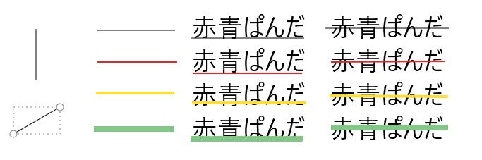 直線(不透明)の例